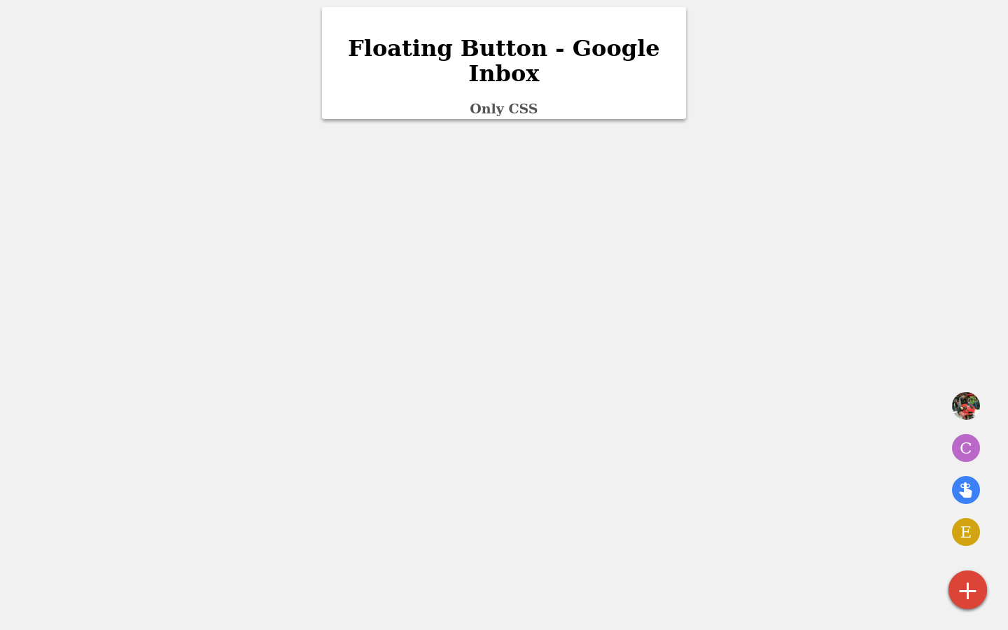Material floating button CSS - Codepad
