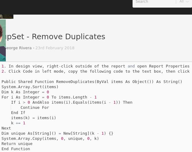 LookupSet - Remove Duplicates - Codepad