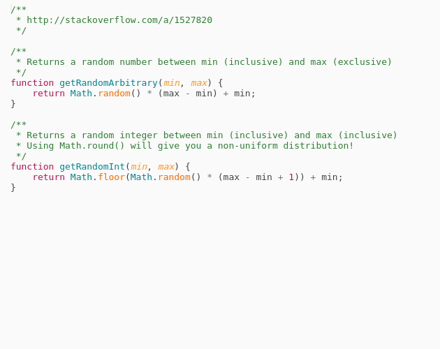 Random Number Integer Between Min Max Range Codepad