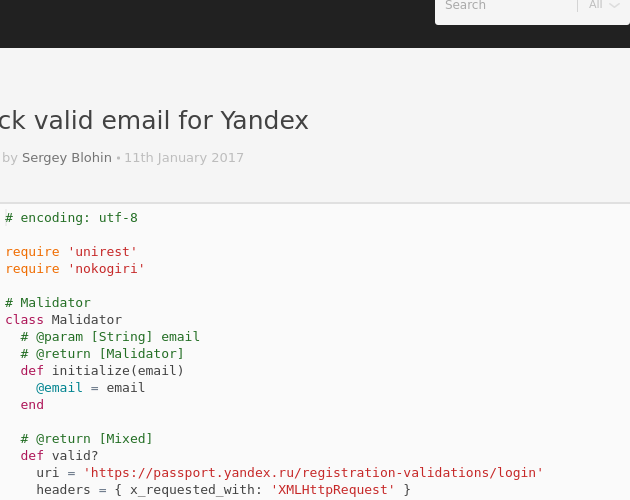 Check valid email for Yandex - Codepad