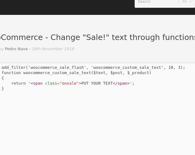woocommerce how to change sale label