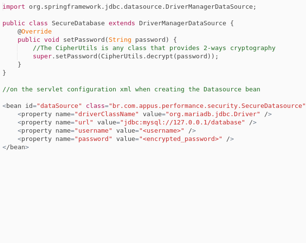 Using encrypted password with Spring XML Configuration - Codepad