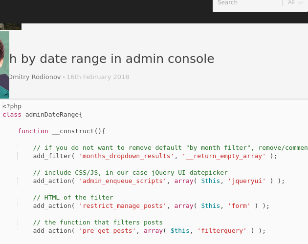 Search by date range in admin console - Codepad