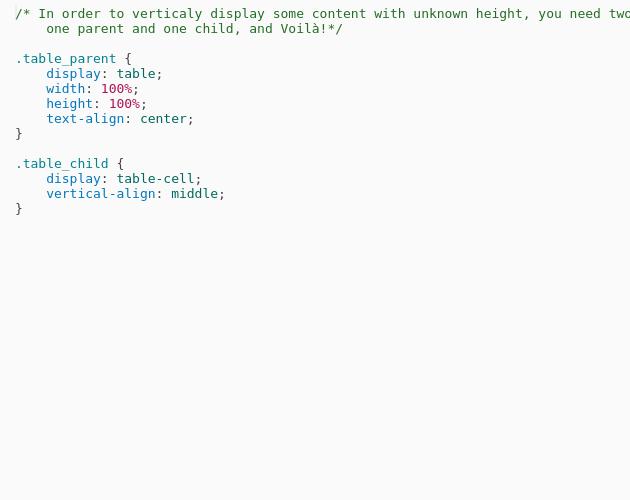 Vertical Align Via Table Display Codepad