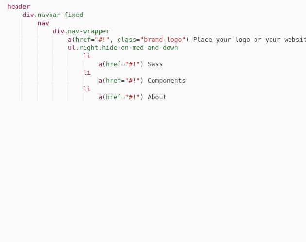 Jade - Material Design navbar fixed with MaterializeCSS - Codepad