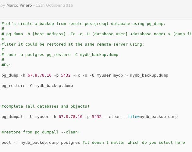 PostgreSQL: backup remote database with pg_dump - Codepad