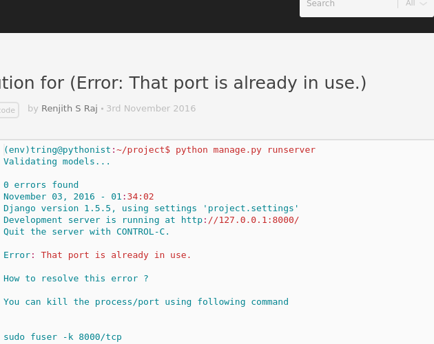 Solution for (Error: That port is already in use ) - Codepad