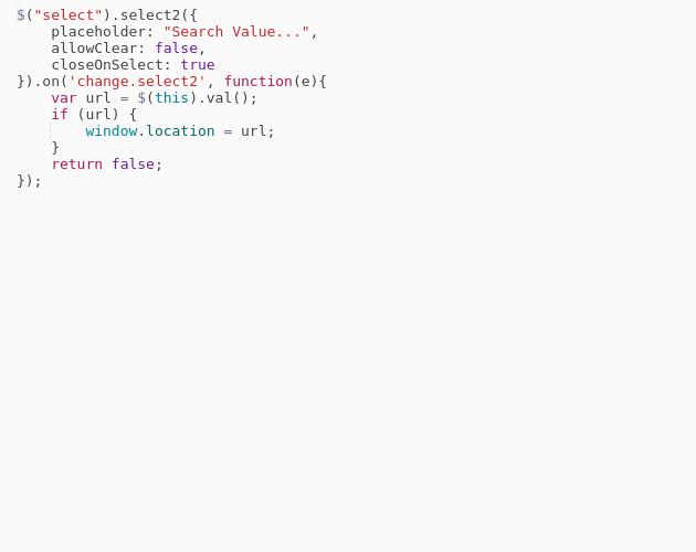 Select2 JS OnChange Value - Codepad