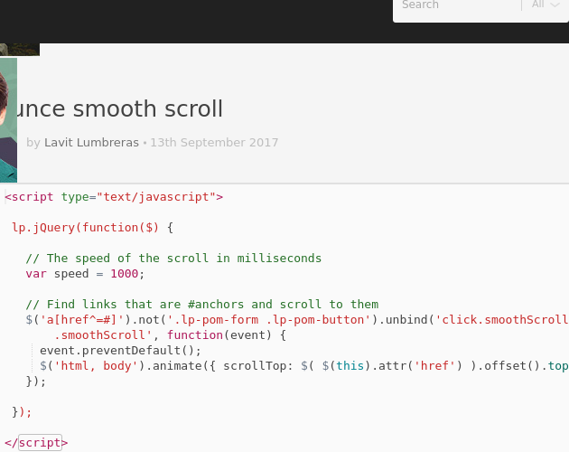 unbounce smooth scroll - Codepad