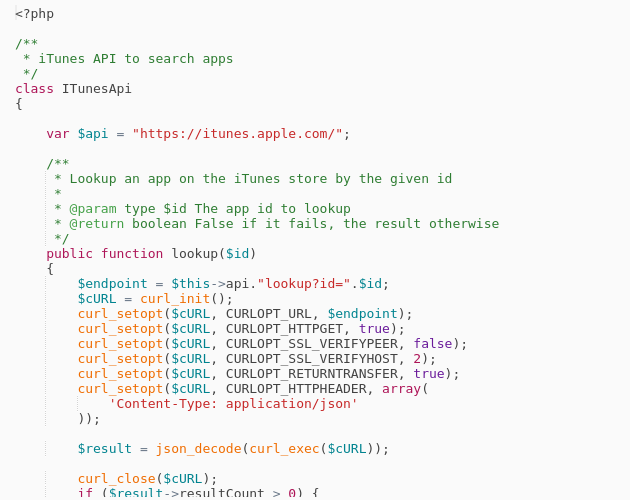 PHP implementation for the lookup methof of iTunes API - Codepad