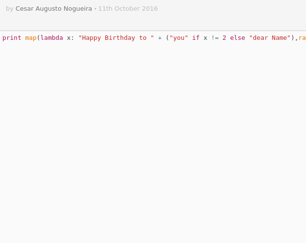Happy Birthday to You in Python - Codepad