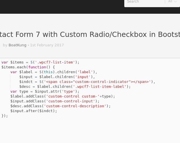 Contact Form 7 with Custom Radio/Checkbox in Bootstrap 4 0 0