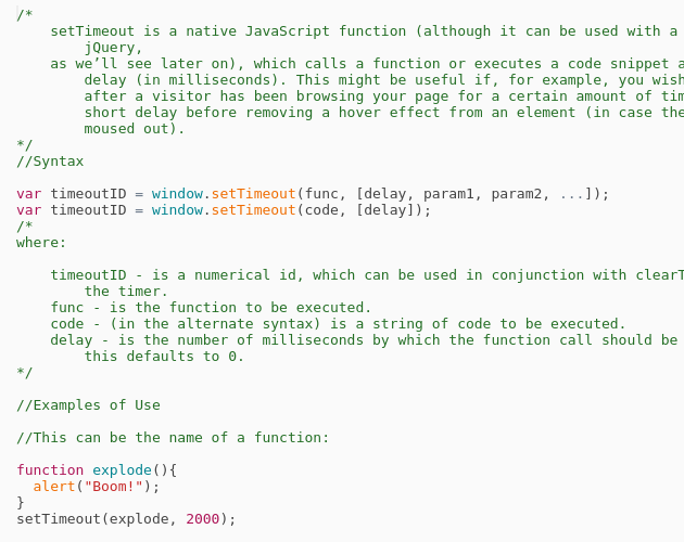 jQuery setTimeout() Function Examples - Codepad