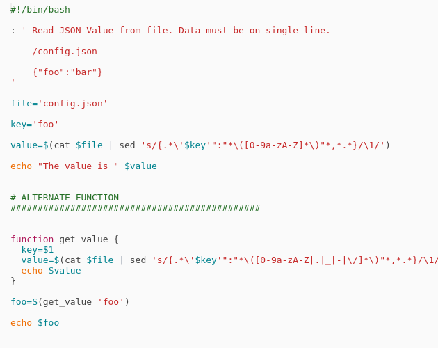 Bash - Read key value from JSON file - Codepad