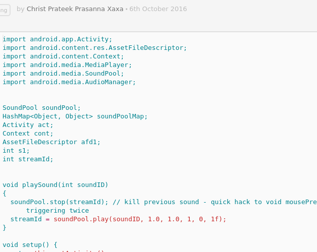 Processing Android MP3 Player - Codepad