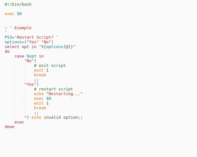 Bash - Restart Current Script - Codepad