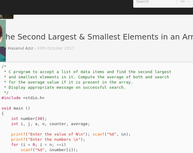 Find the Second Largest & Smallest Elements in an Array