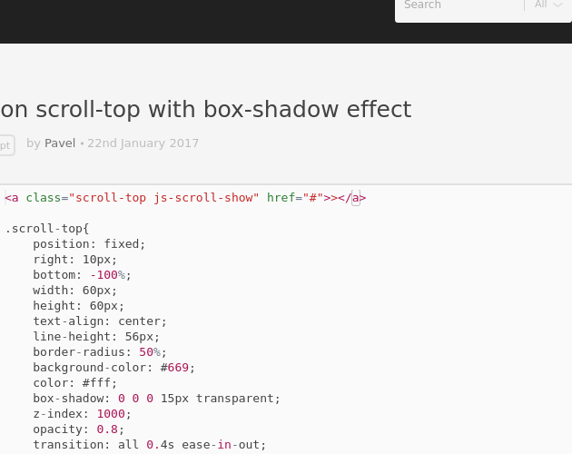 button scroll-top with box-shadow effect - Codepad