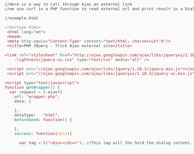 Php Jquery Trick Ajax External Site Curl Codepad