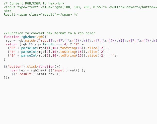 Convert RGBA to HEX - Codepad