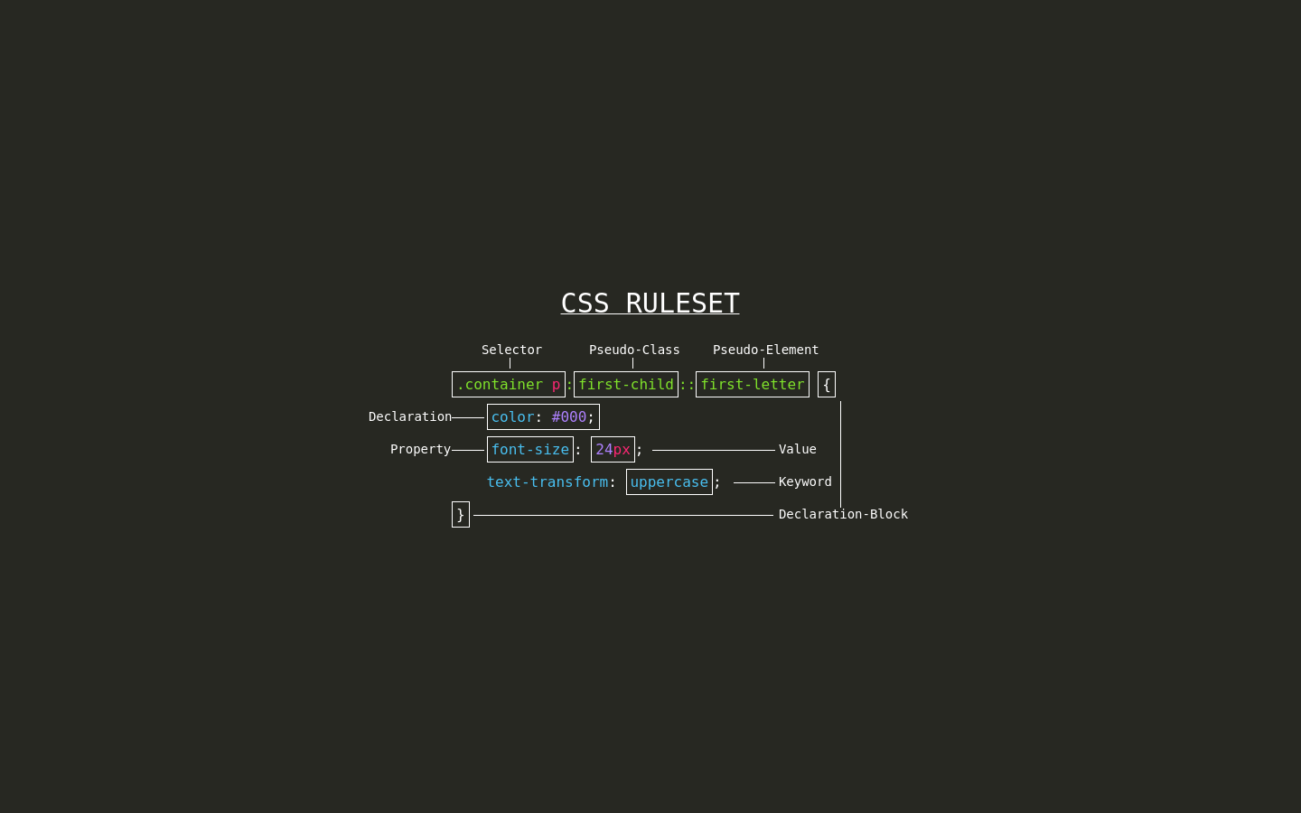 CSS Terminology in CSS - Codepad