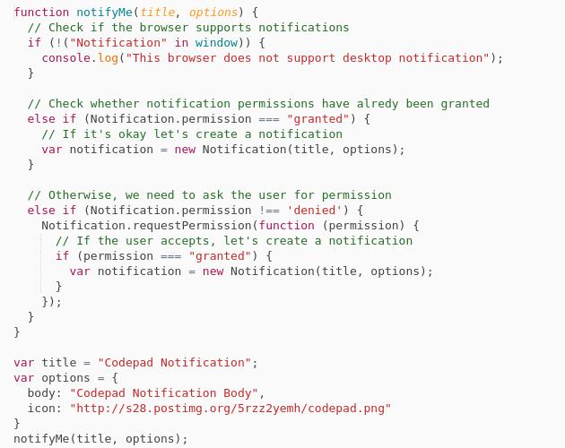 Display desktop notifications | Javascript - Codepad