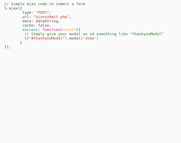 Open Bootstrap Modal for ajax popup message after submitting a php