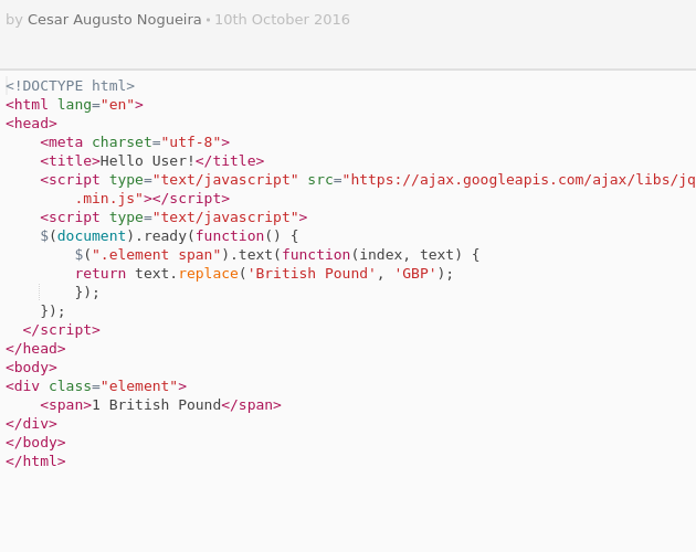 Replace text in a string with jQuery - Codepad