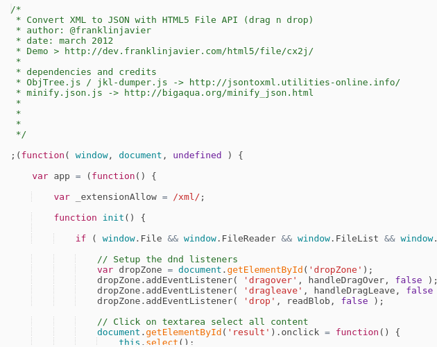 Convert XML to JSON with html5 File API (with drag n drop