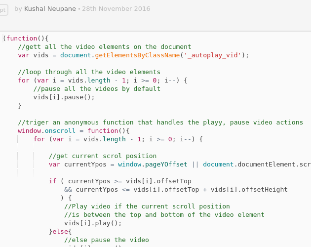 Autoplay HTML videos on scroll - Codepad