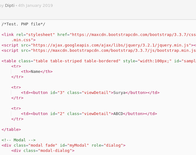 View Detail using Bootstrap - Codepad