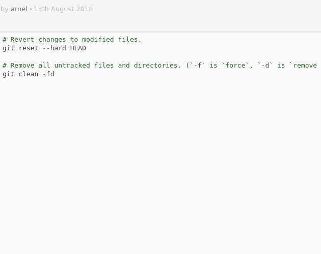 Git Hard Reset Codepad