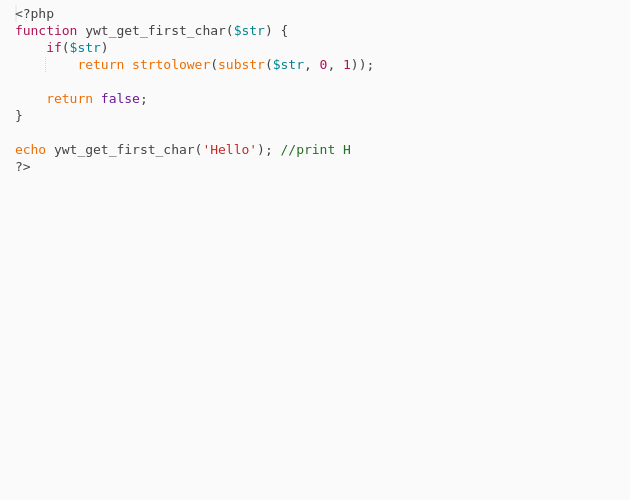Get the first letter of a string with PHP - Codepad