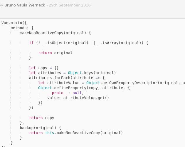 Make a non-reactive copy of a VueJS object - Codepad