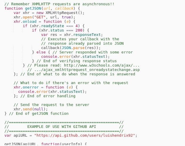 Vanilla JavaScript $ getJSON version with callback - Codepad