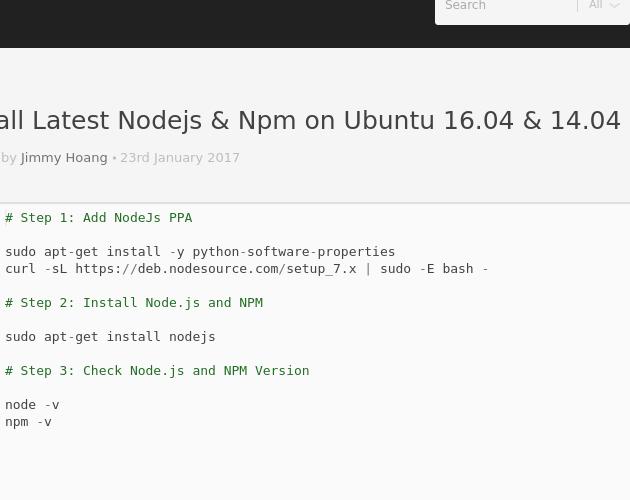 install node npm ubuntu 16.04