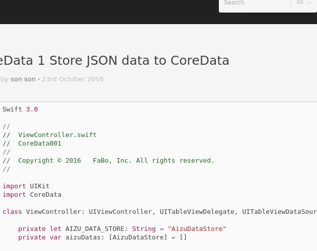 CoreData 1 Store JSON data to CoreData - Codepad