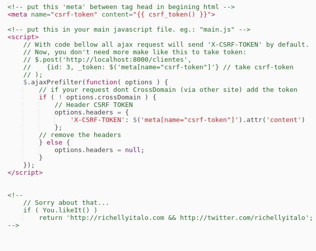 Laravel //AUTO SET CSRF TOKEN REQUEST AJAX - Codepad
