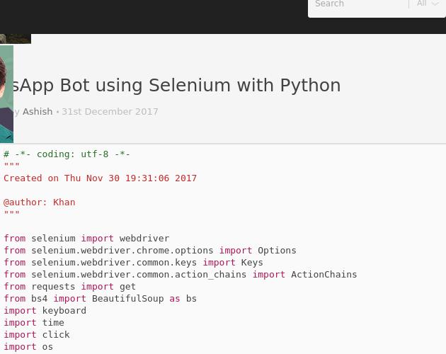 WhatsApp Bot using Selenium with Python - Codepad