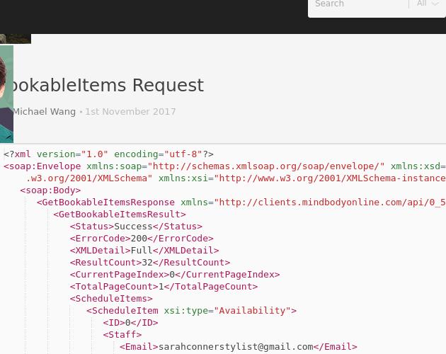 Getbookableitems Request Codepad