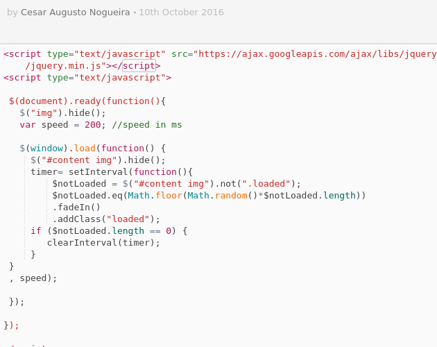 Image fadein onload with jQuery - Codepad