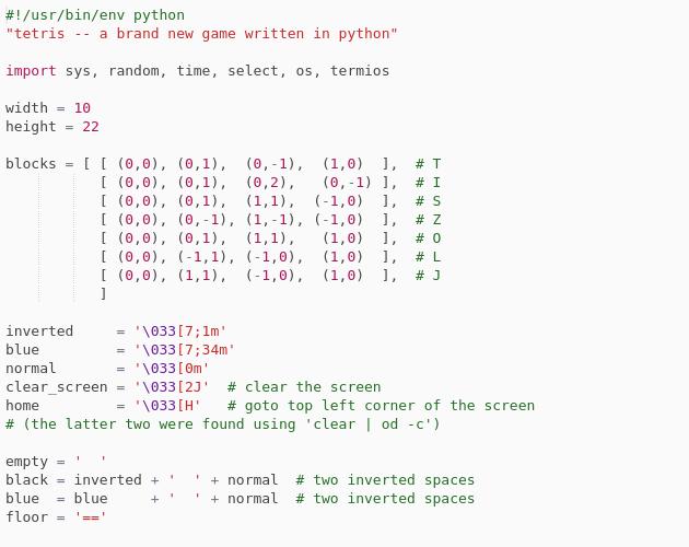 Tetris in Python - Codepad