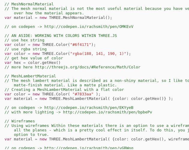 WebGL (pt  3) - Materials - Codepad