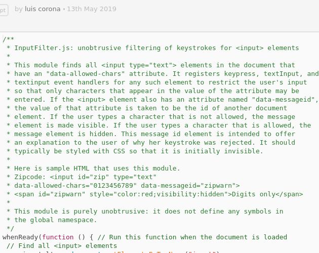 InputFilter js - Codepad