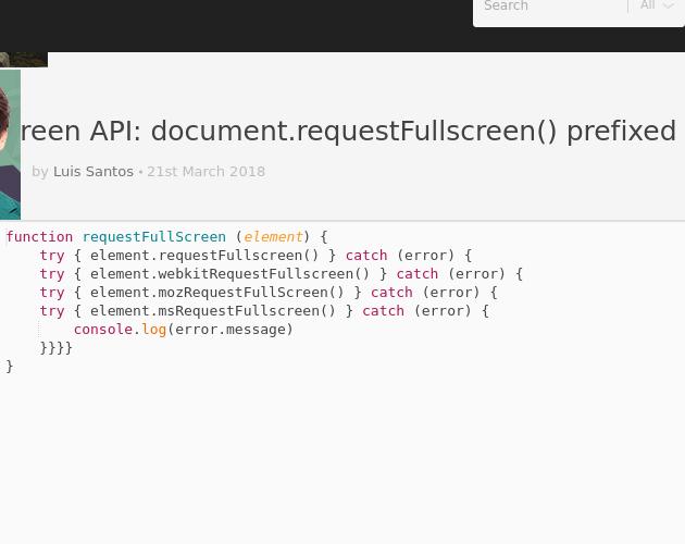 Fullscreen API: document requestFullscreen() prefixed method - Codepad