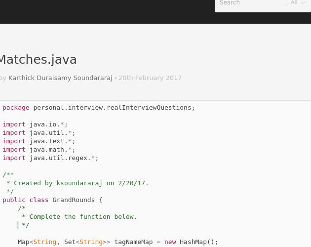 TagMatches java - Codepad