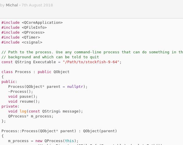 QProcess resume/pause freeze - Codepad