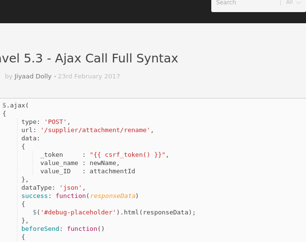 Laravel 5 3 - Ajax Call Full Syntax - Codepad